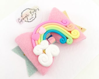 Over the Rainbow, Hair Bow, Headband, Pink bows, pretty bows