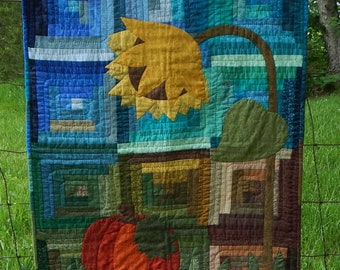 OOAK Autumn Night Hand-Quilted and Hand-Appliqued Finished Quilt