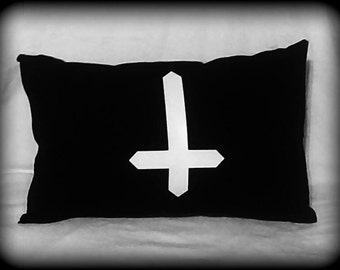Inverted Cross pillow, Satanic pillow, Occult pillow, Satan, Satanic decor, Satanic Bedding, Occult, Horror Decor
