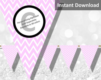 Baby Pink Chevron Bunting Pennant Banner Instant Download, Party Decorations