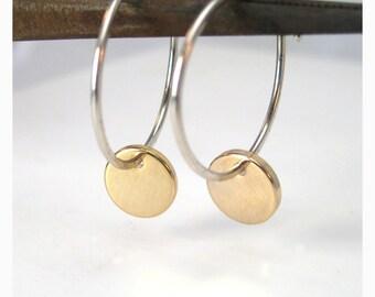 Sterling Silver and Gold Hoop Earrings Dangle Hoops
