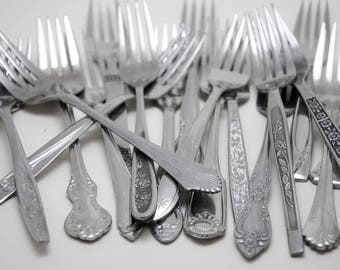 Vintage Mismatched Fancy Flatware Set of 8 Dinner Forks