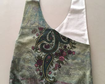 Handmade Upcycled Green Floral Print Hobo Shoulder Purse