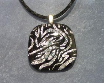 Zebra Print Necklace, Black and Silver Dichroic Pendant, Zebra Stripes - Safari - -5