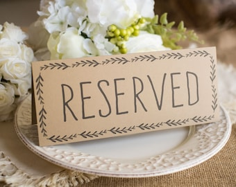 Rustic Wedding Reserved Table Sign - Instant DOWNLOAD - foldover tent style, Double-sided Printable Rustic Wedding Table Sign
