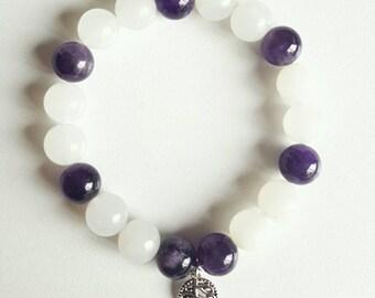 Gemstone bead bracelet with leaf / amythest / jade / February gift / birthstone / lazuritegems /charm bracelet /