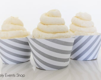 Grey Striped Cupcake Wrappers, Gray Cupcake Wrappers, Stripe Cupcake Wrappers, Wedding Cupcake Wrappers, Birthday -Set of 6, 12, 18, 24+