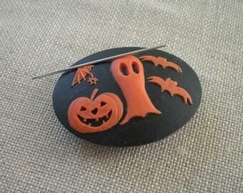 Halloween needle minder magnetized needle holder with ghost pumpkin bats