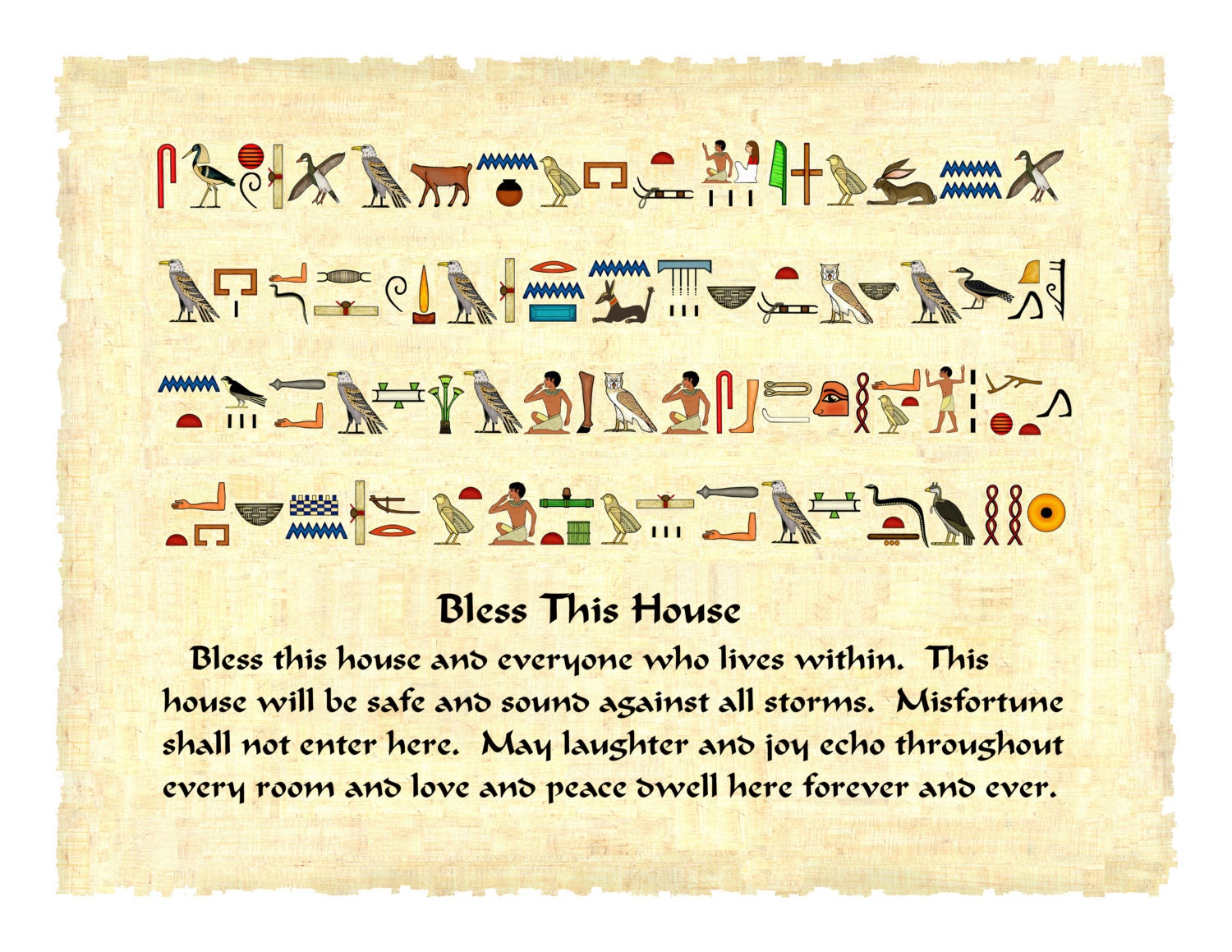 Ancient egyptian hieroglyphics blessing for a family home in zoom buycottarizona Choice Image