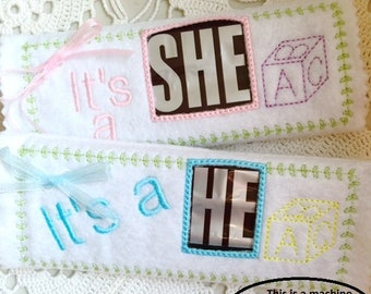 Baby Gender Reveal Candy Bar Wrap Machine Embroidery File in pes, dst, exp, vip, jef, hus and vp3 Formats - Instant Download