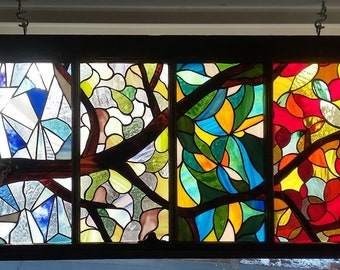 One Branch, Four Seasons Stained glass hanging window panel