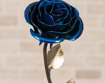 Metal Rose • Blue • Iron Anniversary • 6th Anniversary • Hand Forged • Wrought Iron • Blacksmith • Personalized Gift • Bridesmaid Gift