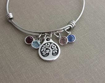 Tree of life charm bracelet Grandma Jewelry, stainless steel adjustable bangle bracelet Family jewelry, Swarovski crystal birthstone, Mom