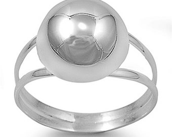 Women Sterling Silver Ball ring 12mm / Free Gift Box(SNRP141454)