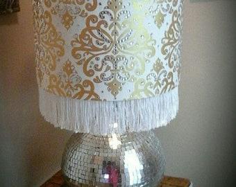Damask lamp: Large Gold/white damask lamp shade with white fringe and rhinestones