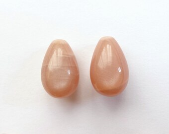 A grade Darker Peach Moonstone 9x14 mm Half Top Drilled Teardrops One Pair J5970