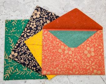 Elephant Dung Cards w/ Handprinted Envelopes (Set of 4)