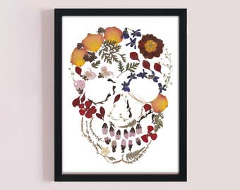Pressed flowers skull printable.Day of the Dead gift, Awesome wall decor.haloween gift
