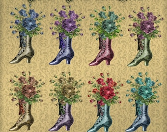 Button Boots and Roses - Digital Vintage Style Boot Images