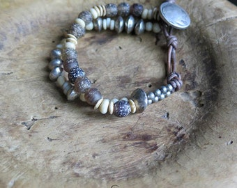 Primitive Bracelet - Southwest style - southwest beads - Bone beads - Frontera Roots - double strand leather closure - Pewter button - Brown
