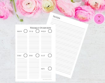 Grey Printable Week on One Page with Notes Planner Insert for A5 Filofax and Large Kikki K - Instant Downloadable Weekly Planner