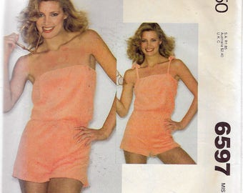 """Vintage 1979 McCall's 6597 Retro Playsuit For Knits Only Sewing Pattern Size Small 10-12 Bust 32 1/2""""-34"""""""