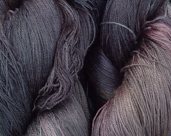 Cobweb Lace Silk Yarn, Hand Dyed Spun Silk Yarn, Weaving, Cobweb Lace Knitting Yarn, No.71 Chestnut