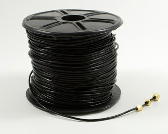 Black Leather Cord, 1mm, Genuine Leather Cord, Round Leather Cord, Lead Free, RETAIL - 1 YARD/order