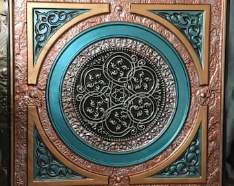 """Ceiling Tile, painted metalic copper, bronze & turquoise.  Steampunk Victorian Art - 26"""" x 26"""" finished size, faux tin."""