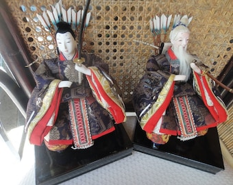 Samurai Warrior dolls Father and Son bisque face head and hands 1950's