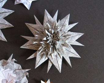 Origami Star Wall Sculpture -  Black and White Paper Wreath - Starburst Wall Decor - Paper Sculpture - Paper Anniversary - Night Sky Decor