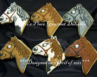 Horse Head Cookies - Horse Cookies - 12 Cookies