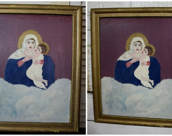 Madonna + Child | Vintage Acrylic Painting of the Virgin Mary + Baby Jesus | Artist Signed | 14 X 18 |  FOLK ART | Framed Christian Art