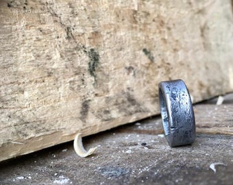 Wide plain band iron ring