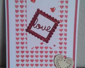 Red and white Valentine card, hearts