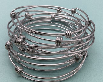Bulk Lot 50 pcs Stainless Steel Adjustable Wire Bangle Bracelet 3 Loops Wrap Silver Tone 60mm Only 90 cents each bangle