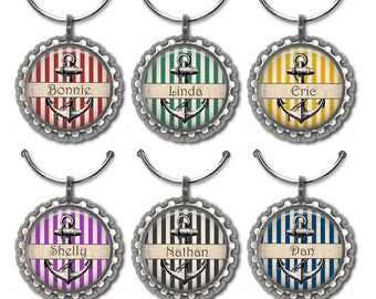 Personalized wine glass charms anchor party favor hostess favor preppy wedding favors nautical stripes.