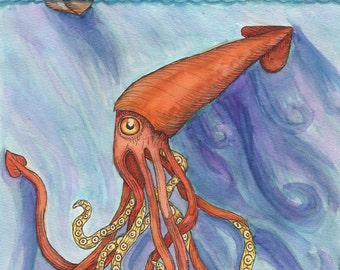 Giant Squid in the Sea with Ship - 8 x 10 Print - Watercolor Painting