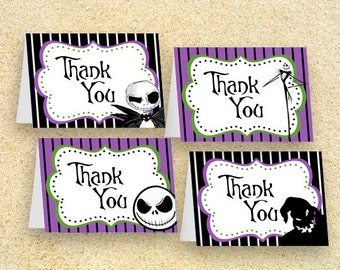 Nightmare Before Christmas Party, Jack Skellington, Nightmare Before Christmas THANK YOU Cards, INSTANT Download, nightmare before christmas