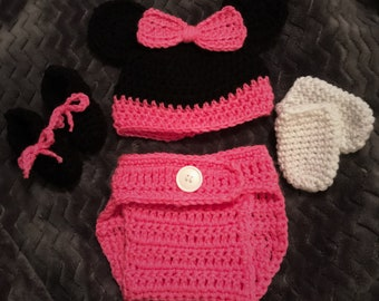 Crocheted Minnie Mouse Infant Costume