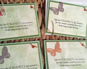 4 Encouragemnt Greeting Cards Use the Talents You Possess for the Woods would be Silent if No Birds Sang Except the Best -A
