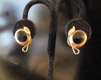 Gold Filled 1/20 12kt Screw Back Earrings Black and Gold Vintage