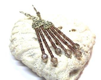 Beaded Earrings Purple Long beaded earrings Lavender fringe earrings Ethnic earrings hippie earrings gift for her top selling jewelry