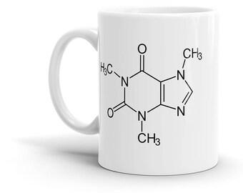 Caffeine Molecule Coffee Mug - Cafe, Coffee, Drink, Chemistry, Schematic, Cool Gift!