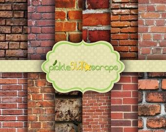 Craft Papers 12x12 Brick Papers Brick Printable Brick Backgrounds Brick Wall Texture Brick Wall Papers Brick Texture INSTANTDown