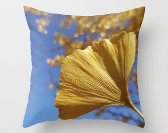 Ginkgo Gold! sapphire blue sky, decorative throw pillow, pillow cover, Christmas gift for her