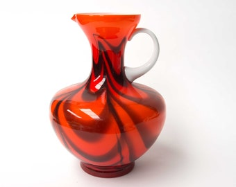 VB Opaline Florence glass vase, Italian Empoli Vase - Intense Orange & black