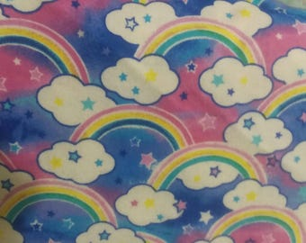 Rainbow Flannel Fabric by the Yard