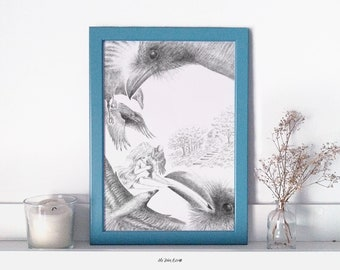 Ilustración Infantil - Lámina A4 - Literatura ilustrada - Cuentos de hadas - Los Siete Cuervos - Hermanos Grimm