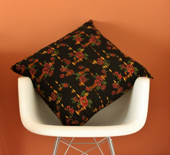 Pair of Black Floral Cushion Covers, Vintage Floral Fabric 60x60cm Cushions